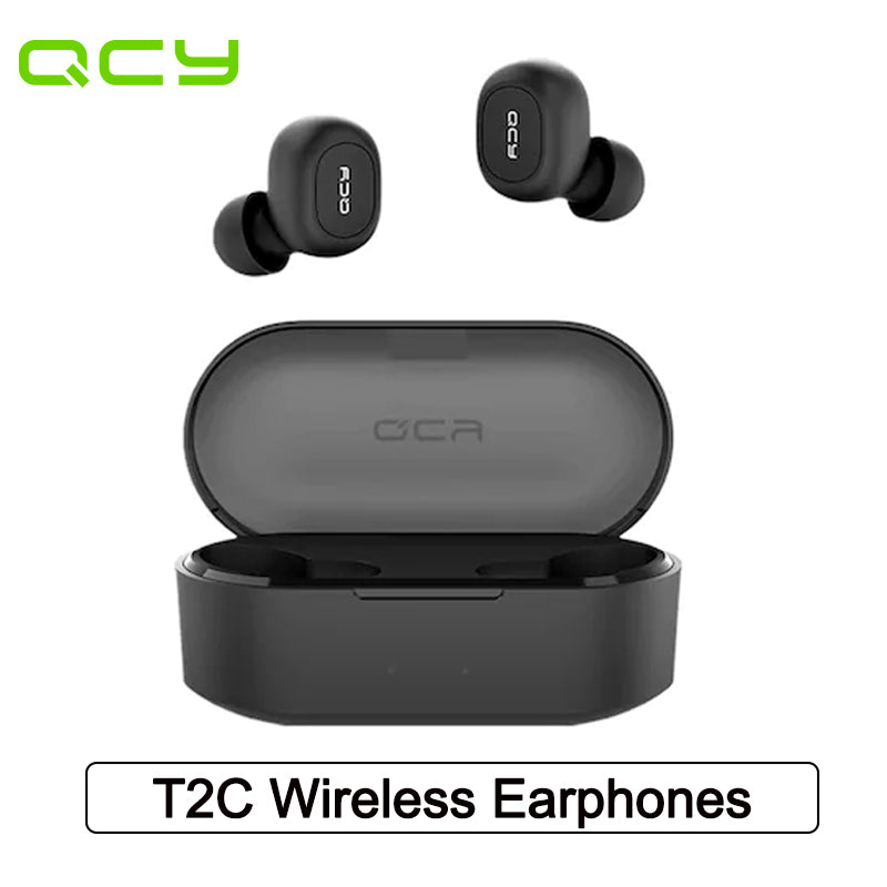 QCY T2C Earphone BT5.0 TWS Wireless Headset with Dual Mircophone 3D Stereo Bluetooth Headphone