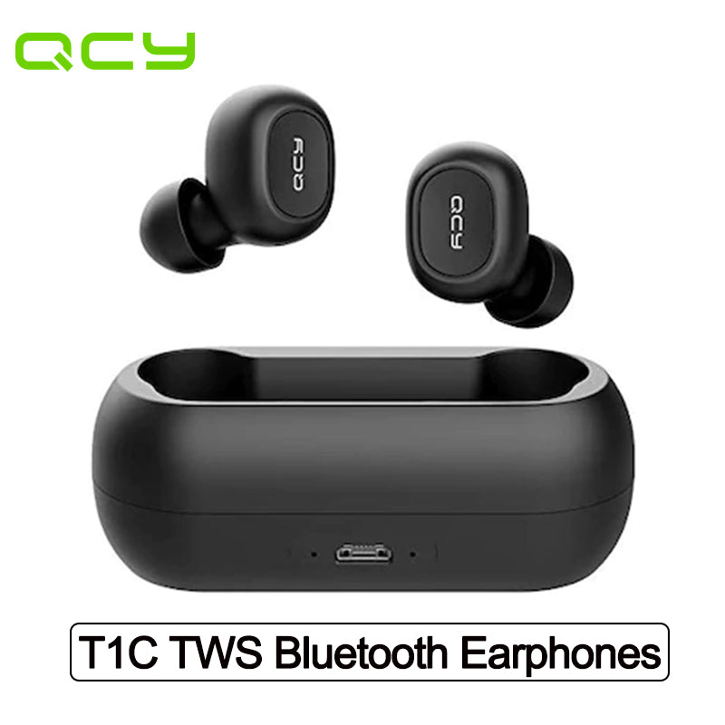 QCY T1C TWS Wireless Earphone Bluetooth V5.0 IPX4 Waterproof Headphones with Microphone Portable Sports Headset