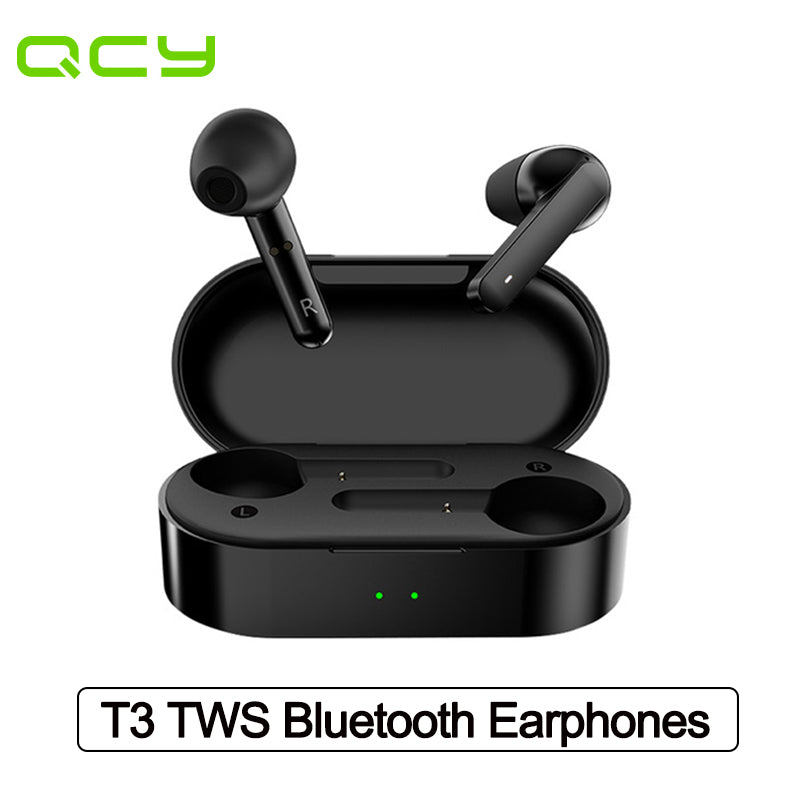 QCY T3 TWS Wireless Earphones Bluetooth V5.0 Waterproof Fingerprint Touch 3D Stereo Headphones Dual-Mic Noise Cancelling Earphones
