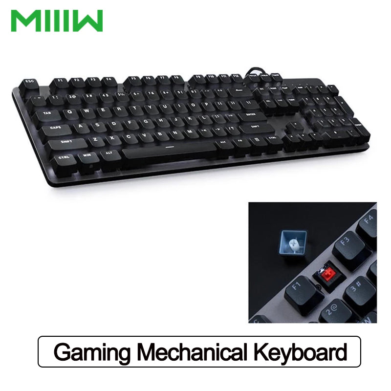 MIIIW Gaming Mechanical Keyboard 600K 104 Keys Red Switch USB Wired Computer Gaming Keyboard 6 Mode White LED Backlights Keyboard for Office PC Laptop