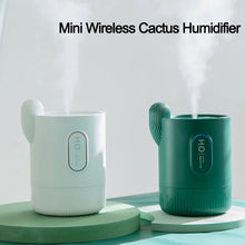 Load image into Gallery viewer, Mini Wireless Cactus Humidifier USB Charging Creative Portable Aroma Diffuser with Atmosphere Lamp Air Atomizer for Home Office