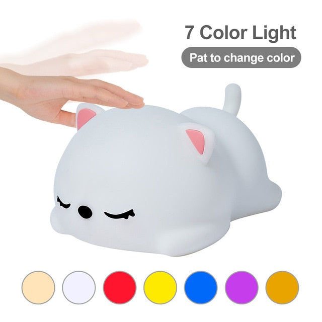 USB Rechargeable Night Light Cat Stress Relief Silicone Night Lights Touch Sensor Bedroom Bedside Lamp With Remote For Kids Baby Gift