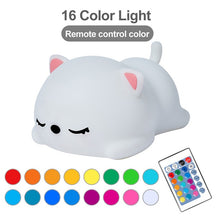 Load image into Gallery viewer, USB Rechargeable Night Light Cat Stress Relief Silicone Night Lights Touch Sensor Bedroom Bedside Lamp With Remote For Kids Baby Gift