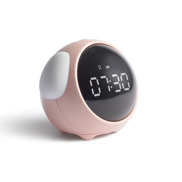 LED Cute Expression Pixel Kids Alarm Clock Multi Function Electronic Digital LED Night Wake Up Light Table Digital Clock