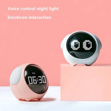 Load image into Gallery viewer, LED Cute Expression Pixel Kids Alarm Clock Multi Function Electronic Digital LED Night Wake Up Light Table Digital Clock