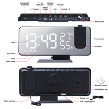 Load image into Gallery viewer, LED Digital Alarm Clock Radio Projection With Temperature And Humidity Mirror Clock Table Electronic Desktop Clocks Snooze Function Bedside Time Display