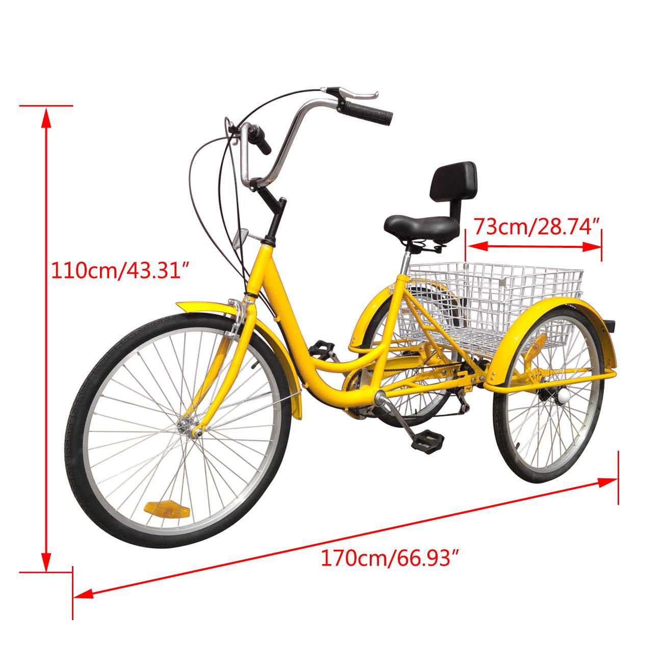"""7-Speed 24"""" Tricycle Adult 3-Wheel Bicycle With Basket Bike Lock and Air Pump Hot Cruise Bike For Sale"""