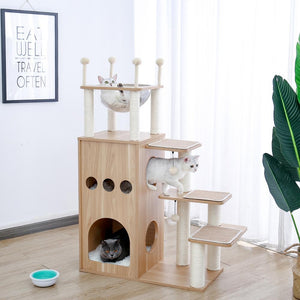 Wood Cat Tree House Tower Cat Scratchier