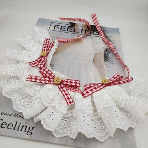 Korean Handmade Red Ribbon Strawberry Lace Pet Cat Collar Lace Scarf Christmas Pet Accessories