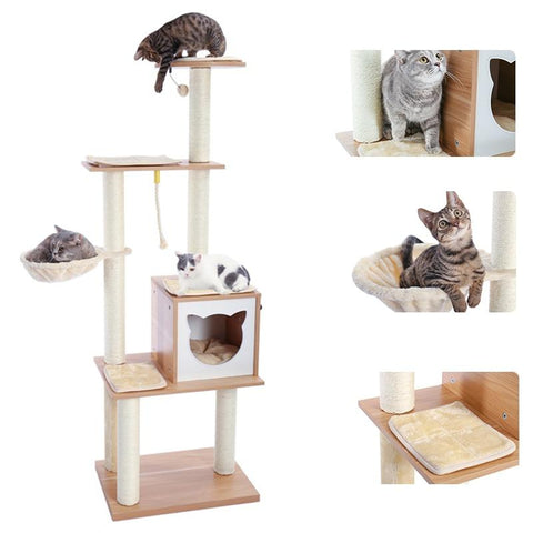 Height 166cm Wood Cat Tree House Tower Cat Scratchier
