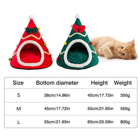 Meow Prestige Cat Lovers Christmas Cat Bed Cute Christmas Tree Shape Pet House