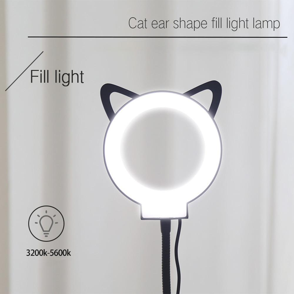Ring Light with Microphone Holder LED Camera Selfie Light Ring with Cat Paw Stand