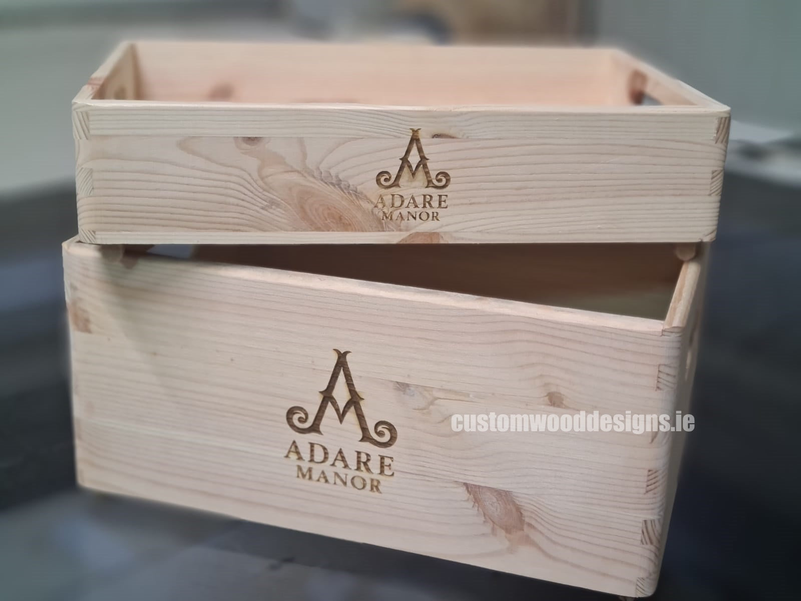 Custom Wood Designs - Adare Manor Branded crates wood crates ireland promotional products sustainabile products corporate gifts ireland