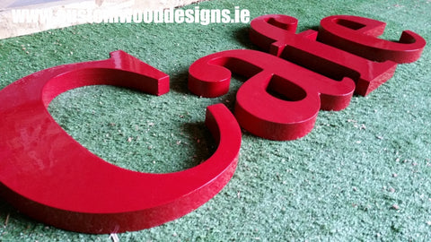 cafe signage lettering cut out shop front sign  shop retail signs cut out wooden lettering custom wood designs irealnd beautitul irish signs maker dublin ireland cut out solid timber