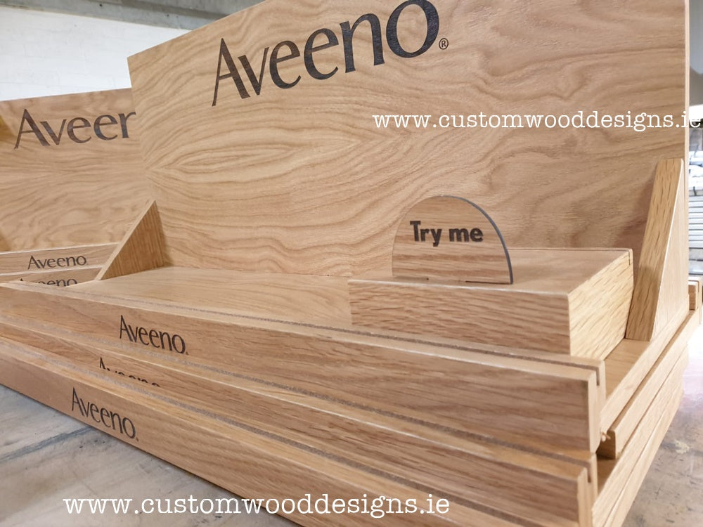Aveeno Brand Retail Shop Display custom wood designs permanent standsFree standing shop unit display display permanent dublin ireland FSDU POS Retail Permanent stands manufacturer ireland made in ireland wood (14)