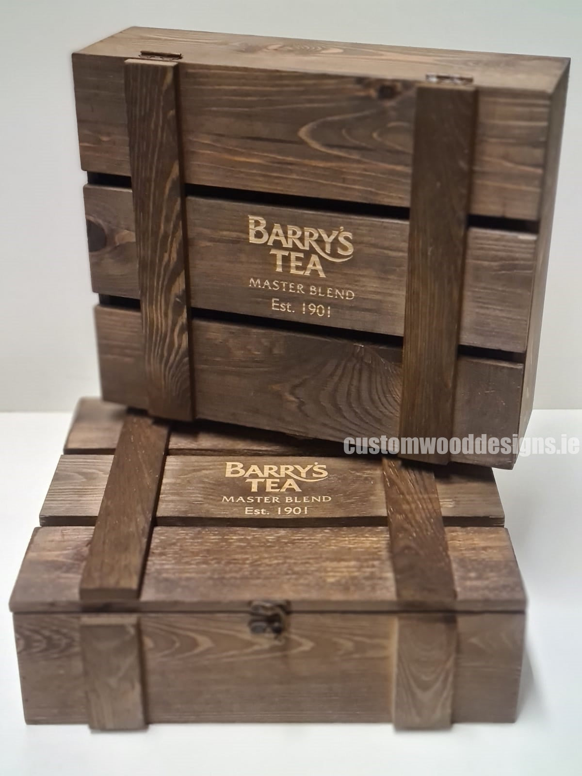 Barry's Tea Custom Wood Designs Branded wooden boxes Ireland Gift Boxes Wood Crate supplier