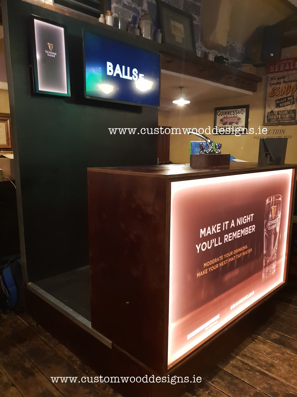 Guinness Stand Show stand logo branding light up box sale show promotional display custom wood designs guinness brand guiness clear hydration station gary byrne cnc wood timber design Ireland custom wood design (14) pub display branding promotional structure risen in the pub promotional