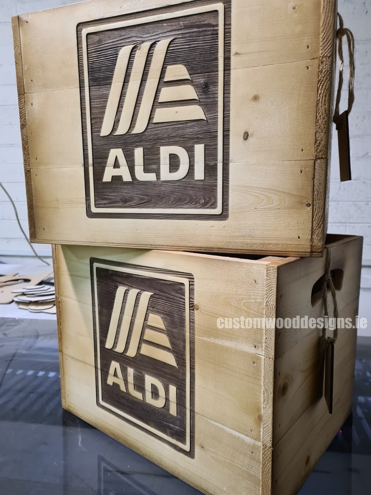 branded boxes ireland wooden boxes ireland corporate boxes corporate gift boxes solid wooden bolxes engraved wooden boxes personalised boxes ireland custom wood designs  branded wooden crates wood crates ireland Aldi Ireland retail display Alid