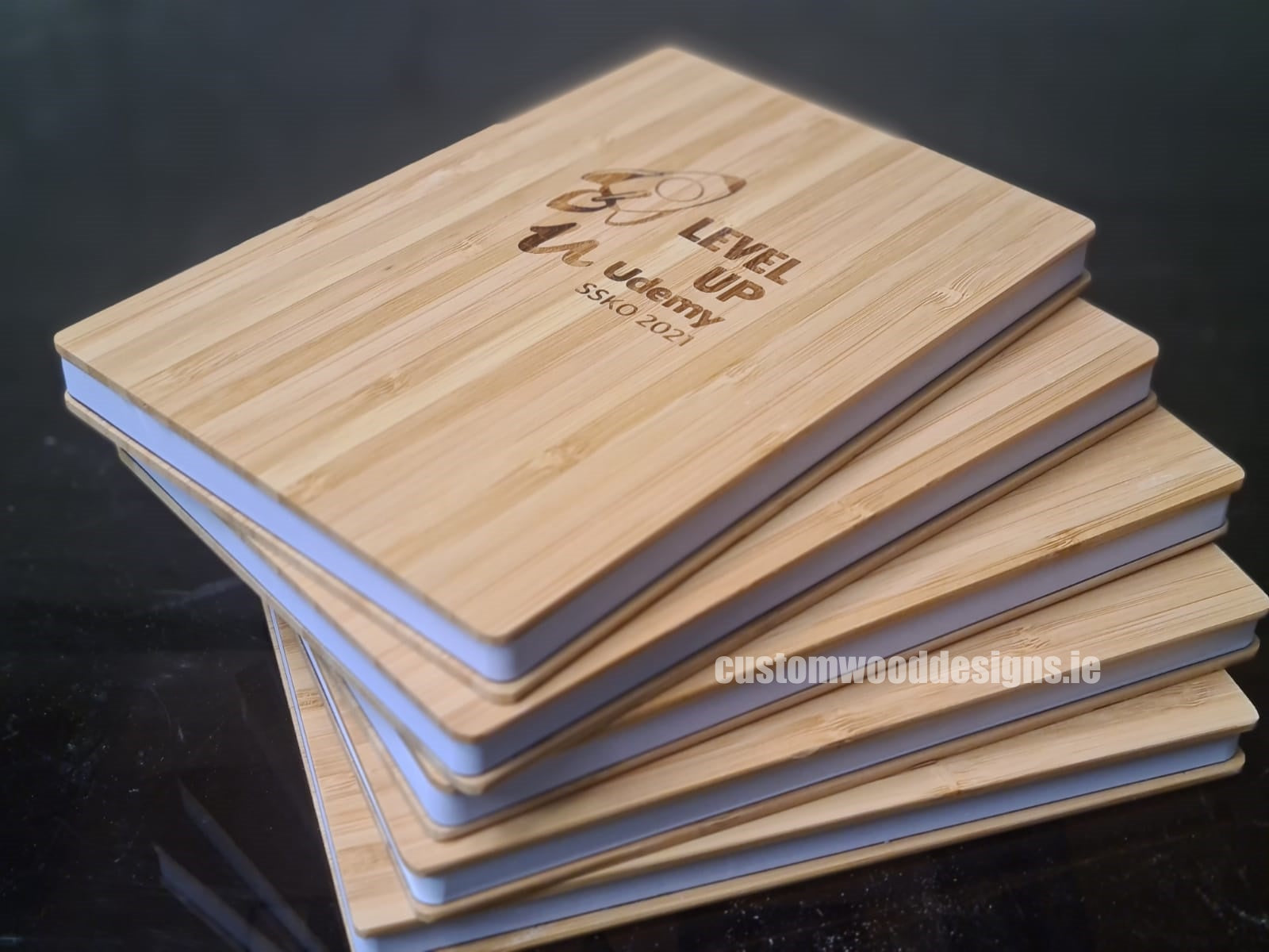 SWAG gifting ideas Corporate gifting ireland sustainable corporate gifts custom wood designs StrideXM Wooden Books