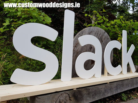 slack signa sign  shop retail signs cut out wooden lettering custom wood designs irealnd beautitul irish signs maker dublin ireland cut out solid timber