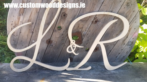 weding minogram cut out sign  shop retail signs cut out wooden lettering custom wood designs irealnd beautitul irish signs maker dublin ireland cut out solid timber