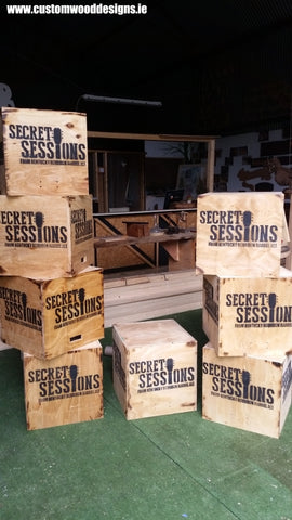 wooden seats wooden crate seats made in ireland branded laser engraved painted wooden props Ireland custom wood designs