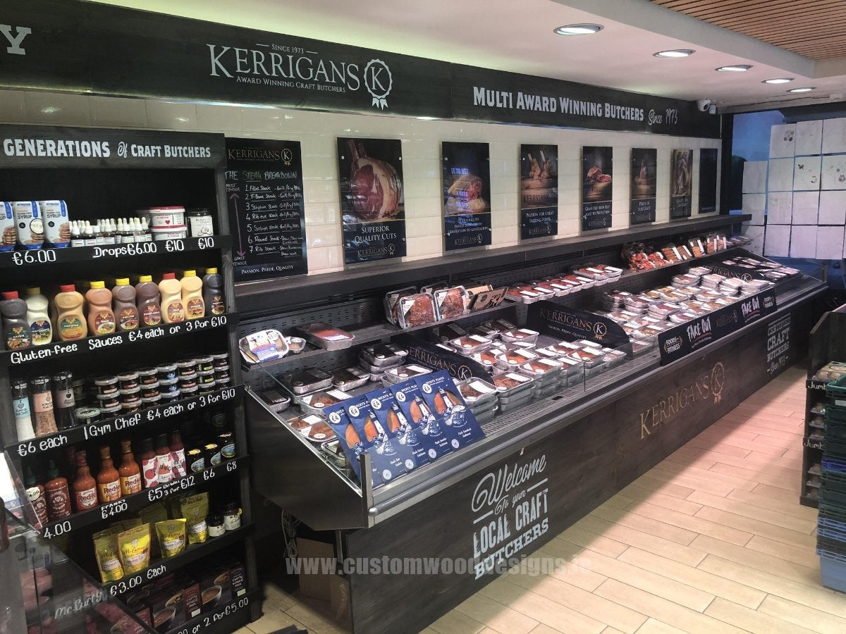 KERRIGANS butchers malachide  branded engraved furniture branding sign maker sign maker sign furniture with writing logos Commercial furniture ireland joinery woodworking dubl;in uv printing custom made custom wood designs ie greenogue woodworking kitchen wood timber signage (8)