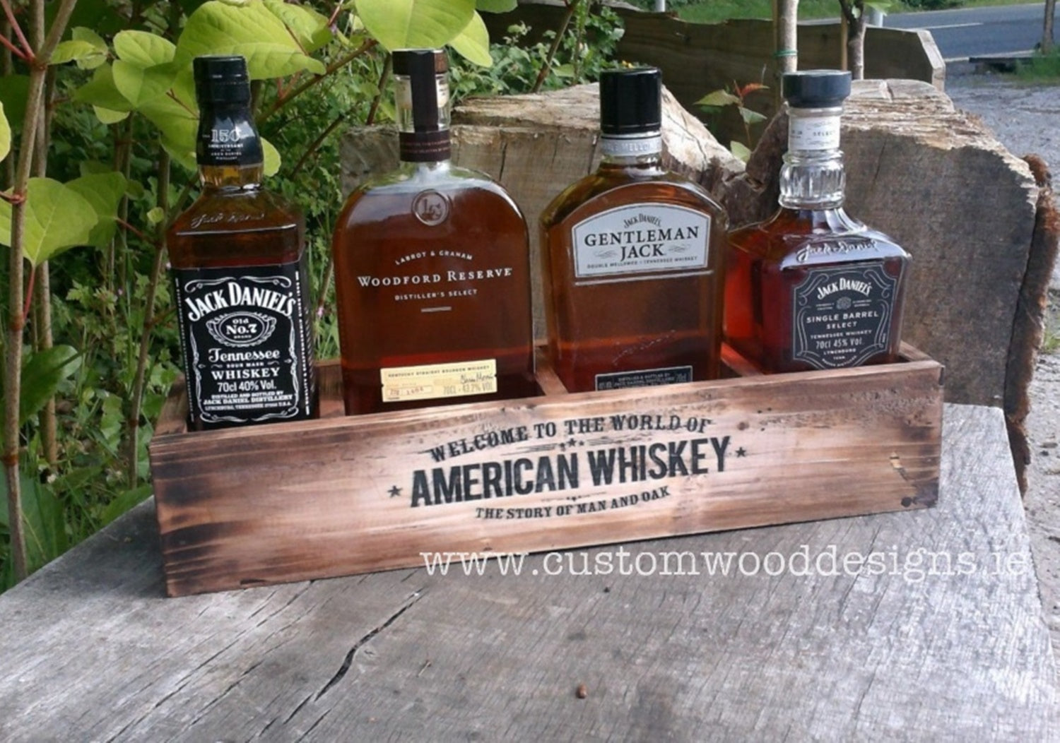 brown rustic with lights jack daniels point of sale retail display point of sale free standing europenan manufacturer custom wood designs Ireland Irish designs manufacture