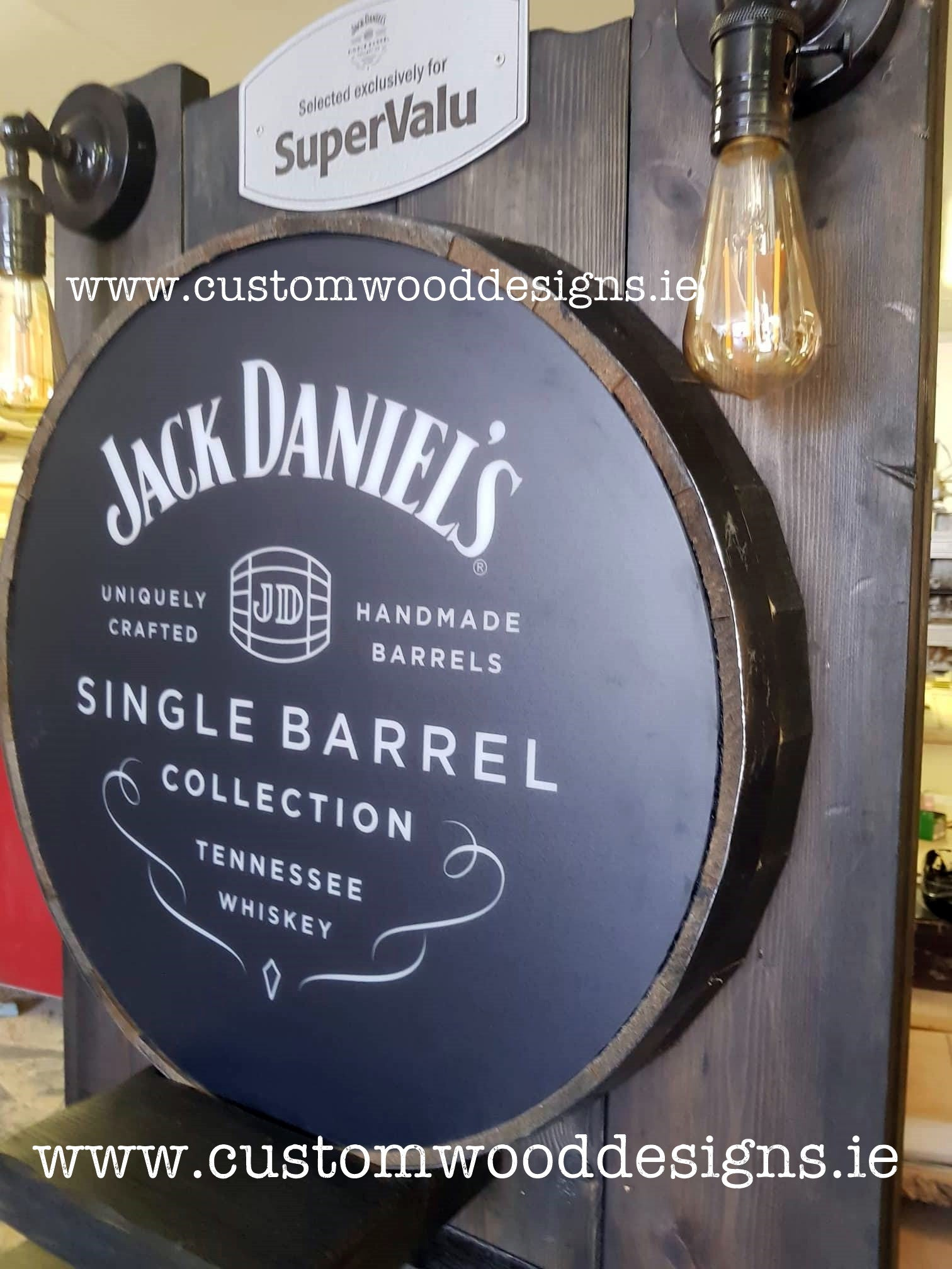 rustic with lights jack daniels point of sale retail display point of sale free standing europenan manufacturer custom wood designs Ireland Irish designs manufacture