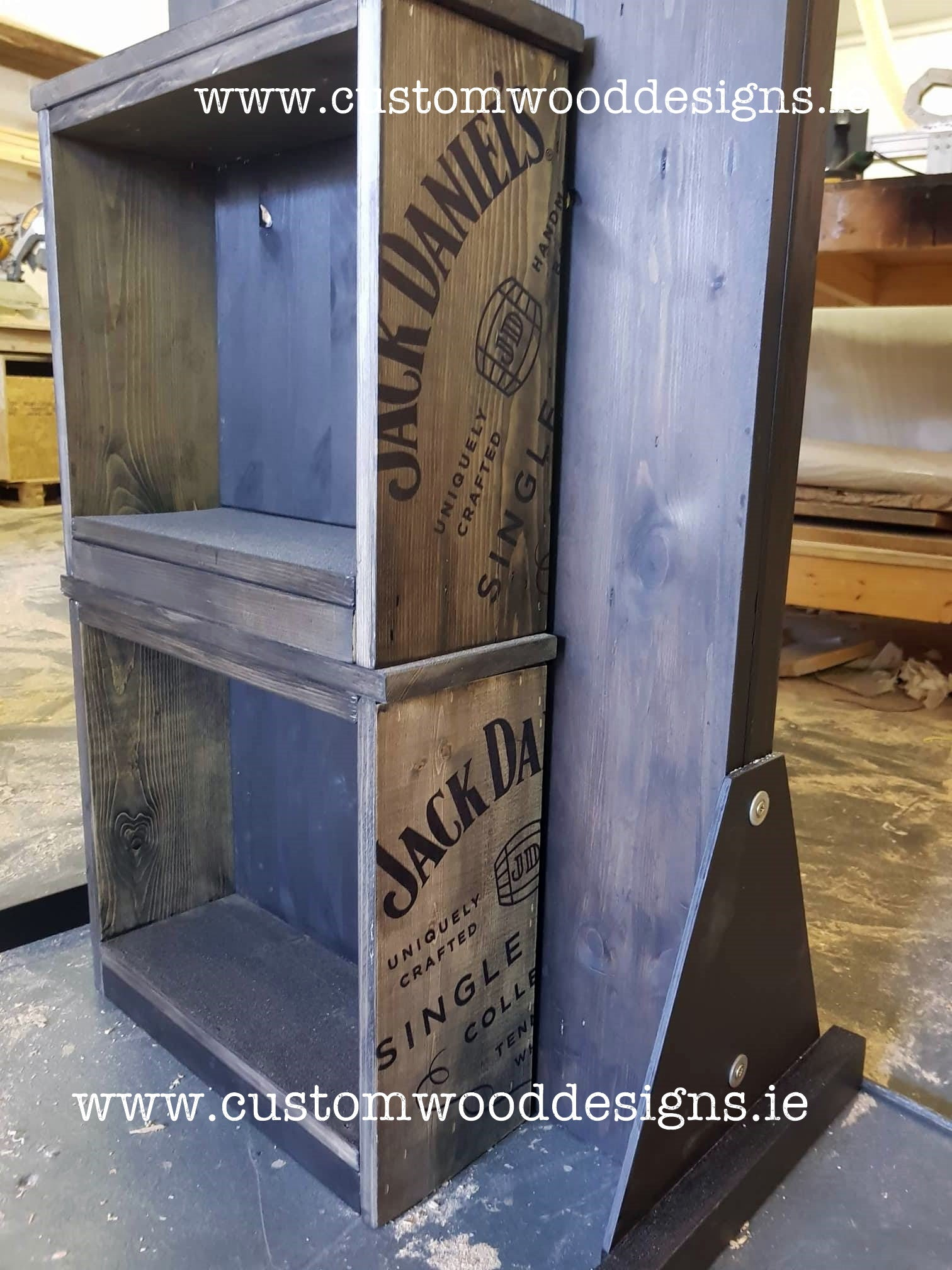 crates black rustic wioth lighjts jack daniels point of sale retail display point of sale free standing europenan manufacturer custom wood designs Ireland Irish designs manufacture