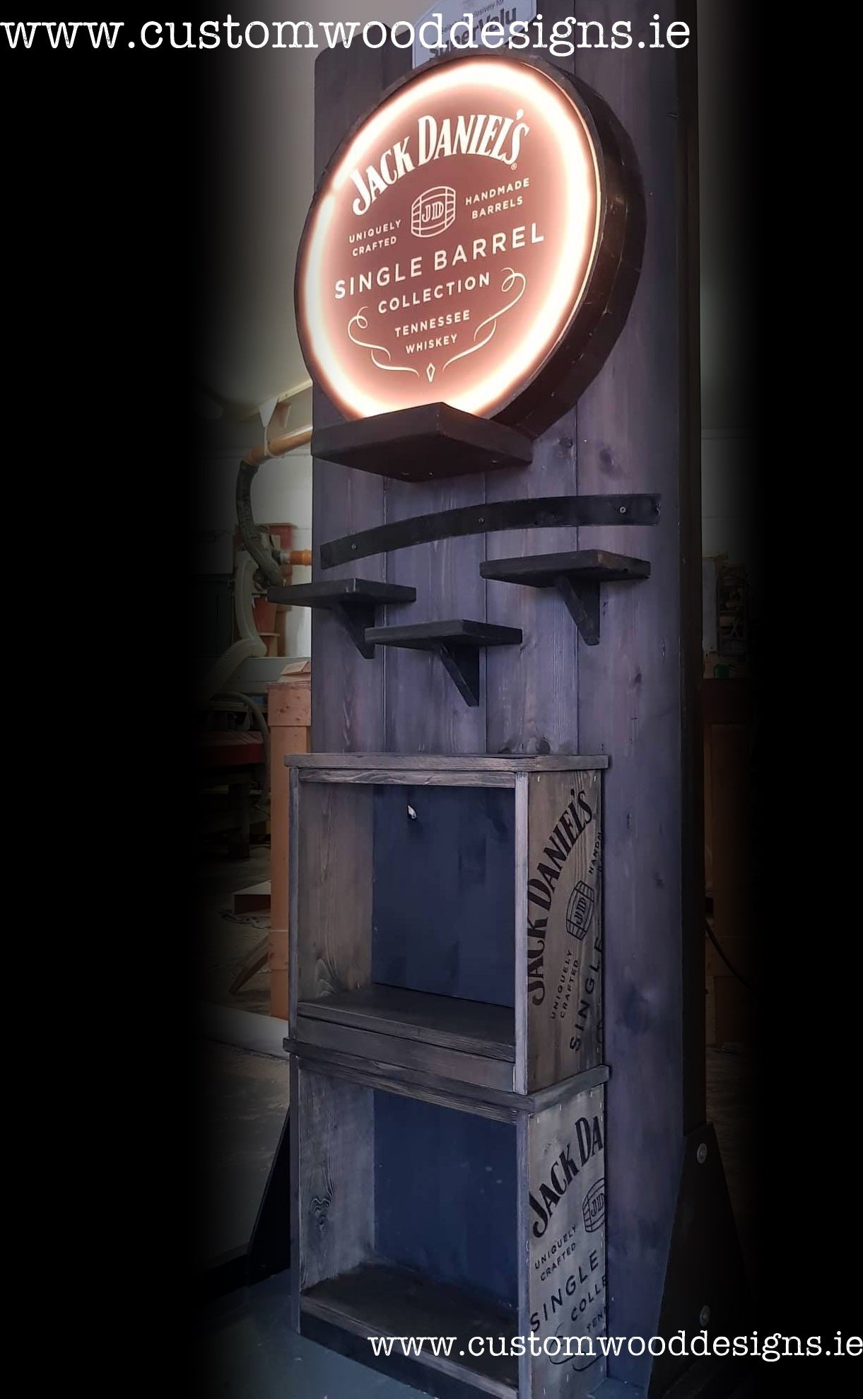 rustic with light jack daniels point of sale retail display point of sale free standing europenan manufacturer custom wood designs Ireland Irish designs manufacture