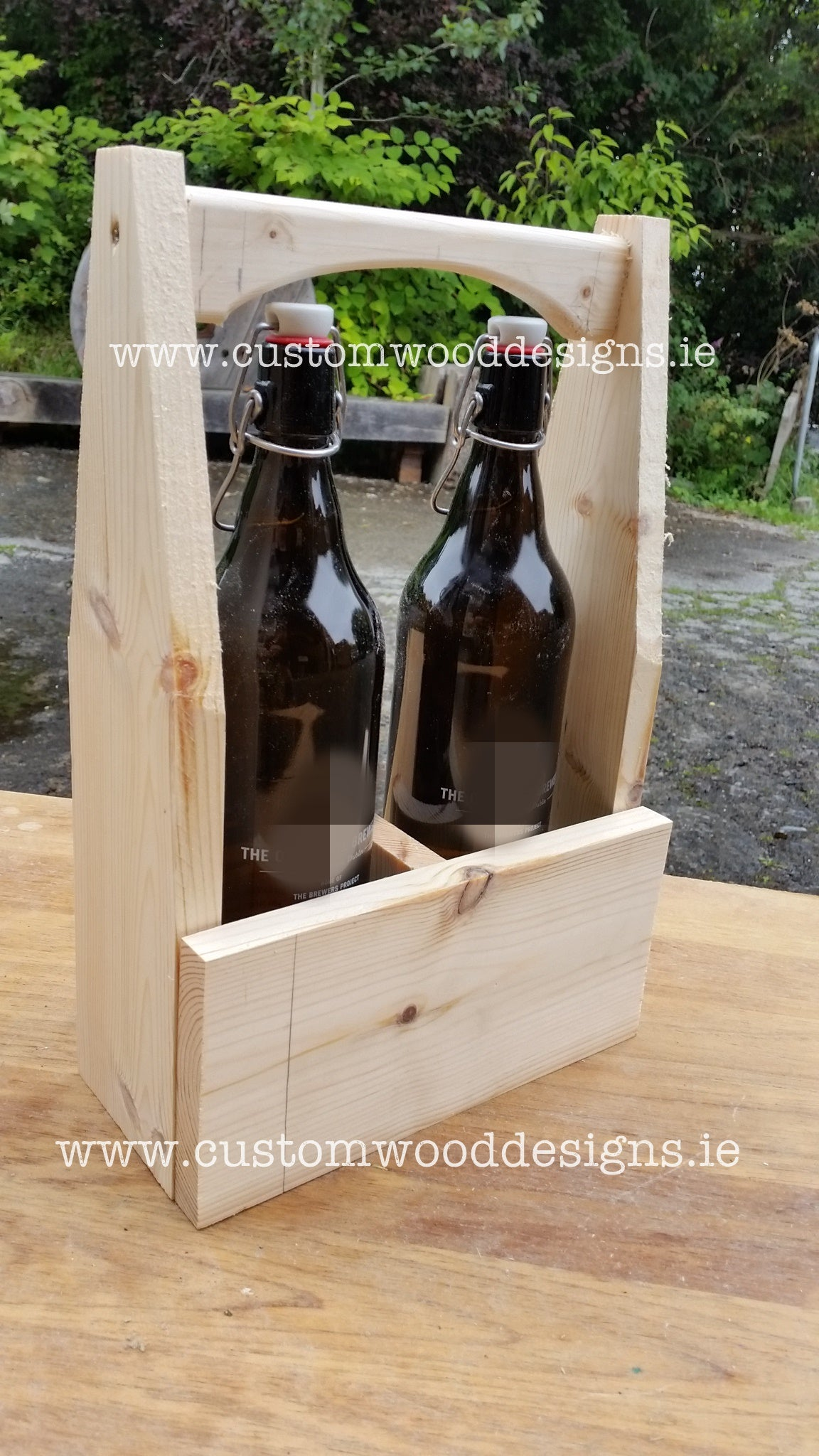Caddy woodworking made to order bottle holders dublin laser engraved honest juices bottle holder round holer laser engraved custom wood designs ire;and irish made gary byrne custom wood wood branding sp (3)