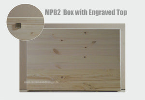 Personalised Pine Box with Lid MPB2 40 X 30 X 13.5cm - Custom Wood Designs