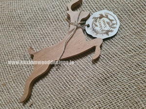 Reindeer with Tag 19 x 15.5 x 1.2 cm - Custom Wood Designs
