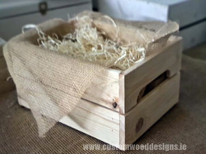 Small Hamper Crate Natural SCHN 31 x 23 x 15 cm - Custom Wood Designs