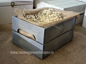 Small Hamper Crate Gray  SCHG 31 x 23 x 15 cm - Custom Wood Designs