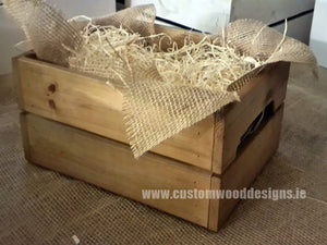 Small Hamper Crate Brown  SCHB 31 x 23 x 15 cm - Custom Wood Designs