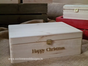 Box MPB2 with Happy Christmas engraved - Custom Wood Designs