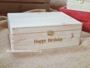 Box MPB2 with Happy Birthday engraved - Custom Wood Designs