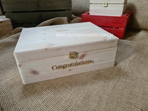 Box MPB2 with Congratulations engraved - Custom Wood Designs