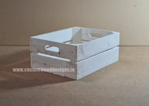 Rough Medium Handle Crate White Wash 52 x 37 x 29 cm - Custom Wood Designs