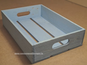 Rough Rustic Tray Large Pale Blue 50 x 36.5 x 8.5 cm - Custom Wood Designs