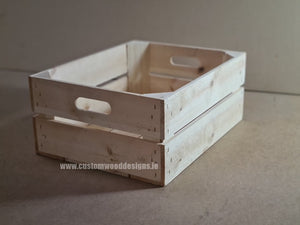 Rough Medium Handle Crate Natural 52 x 37 x 29 cm - Custom Wood Designs