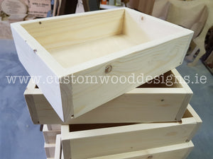Solid wood box tray