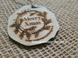 Tag Merry Christmas 5.5 x 5.5 x 0.3 cm - Custom Wood Designs