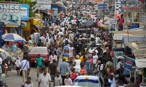 Busy streets in Accra Ghana in west africa