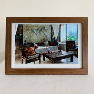 Smart Photo Frame - Walnut Wood on white frame