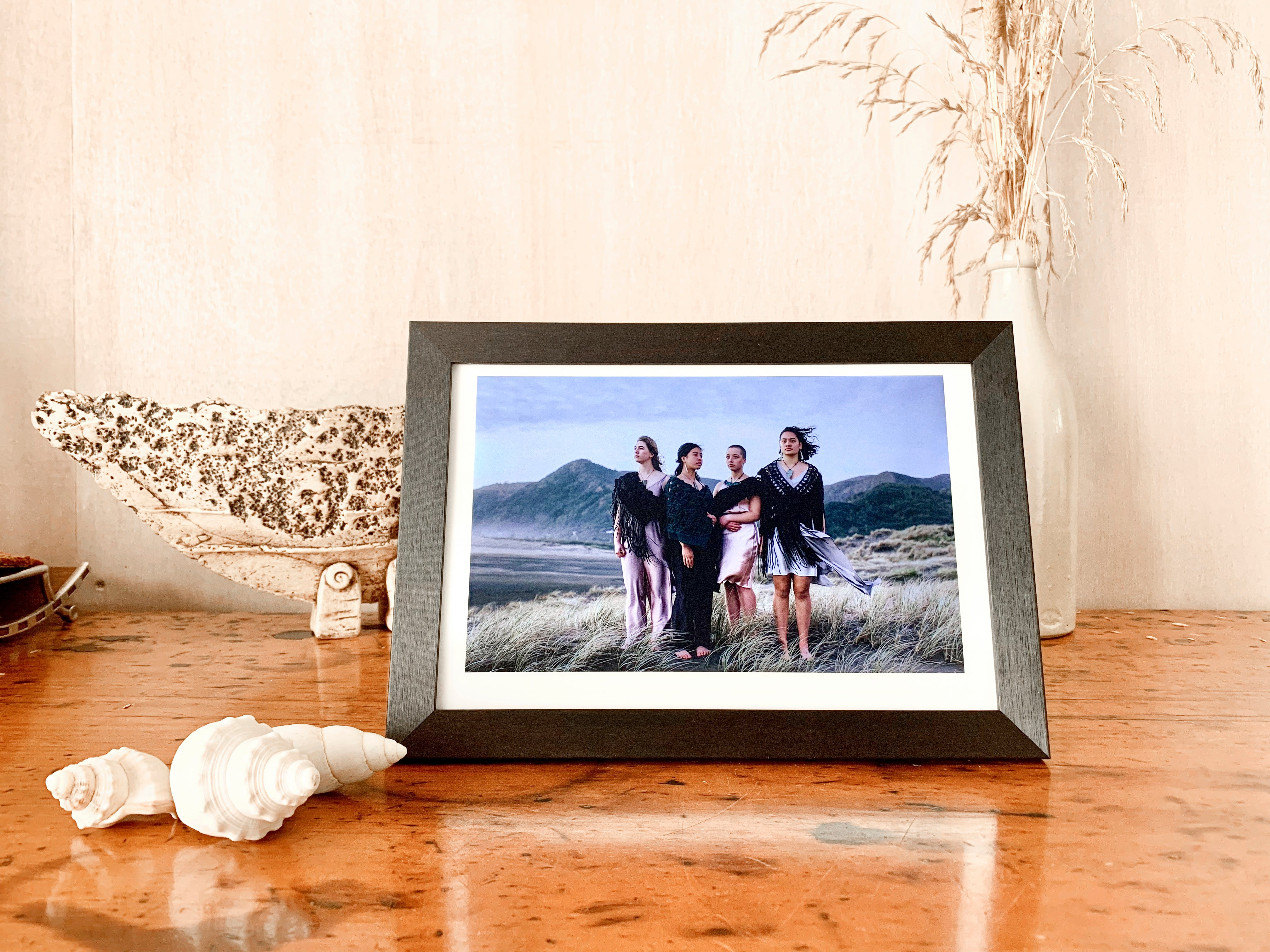 Smart Photo Frame - Black Wood on white frame