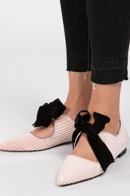 Dusty Pink Velvet bow flats