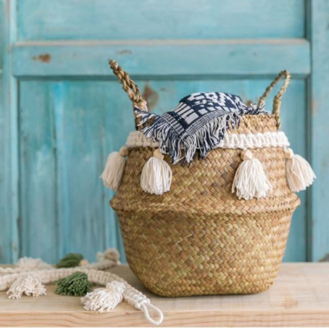 Nile White Tassel Basket-The Queen of Rattan-The Queen of Rattan